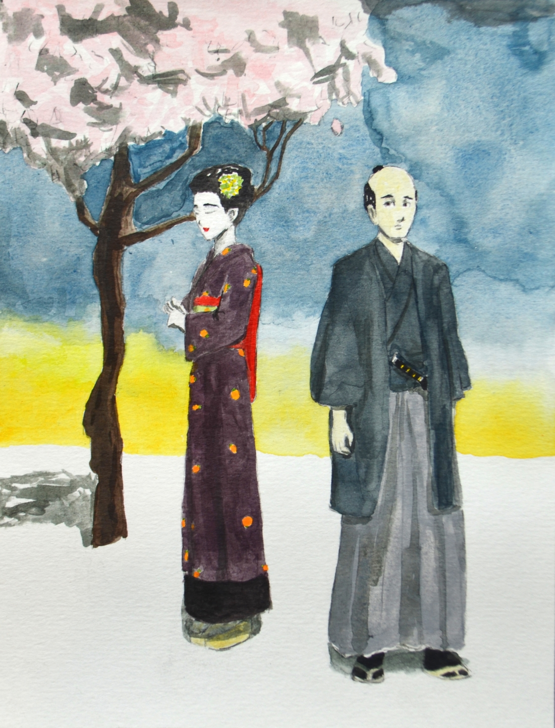 """Japan 1800's"" (ink and acrylic, 13.6x17.8 cm)"